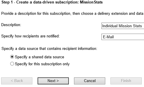 figure 4 - Subscription screen step 1