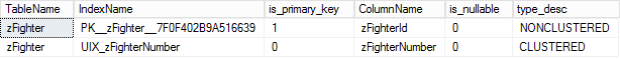Query for Primary and Candidate Keys Example Results